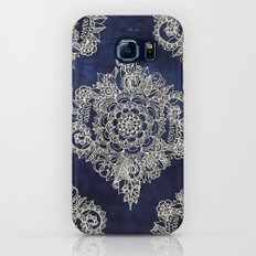 Cream Floral Moroccan Pattern on Deep Indigo Ink Galaxy S8 Slim Case