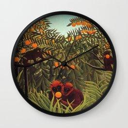 Apes in the Orange Grove by Henri Rousseau 1910 // Colorful Jungle Animal Landscape Scene Wall Clock