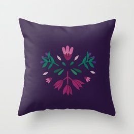purple folk scandi flowers Throw Pillow