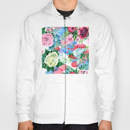 Summer Time Floral Pattern in Pink, Red & Blue Hoody