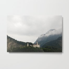 Neuschwanstein Castle in the Clouds Metal Print