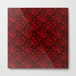 Pattern of interwoven iridescent red stars and constellations on a bright red background. Metal Print