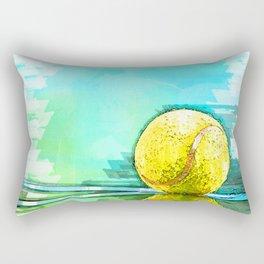 Tennis Ball On Court Reflection. For Tennis Lovers Rectangular Pillow