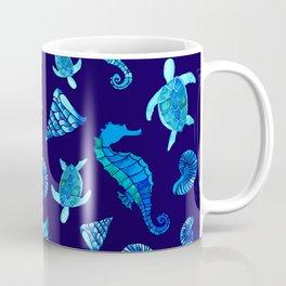 Sea Creatures   Cyan, Navy Blue Marine Animals Pattern Coffee Mug