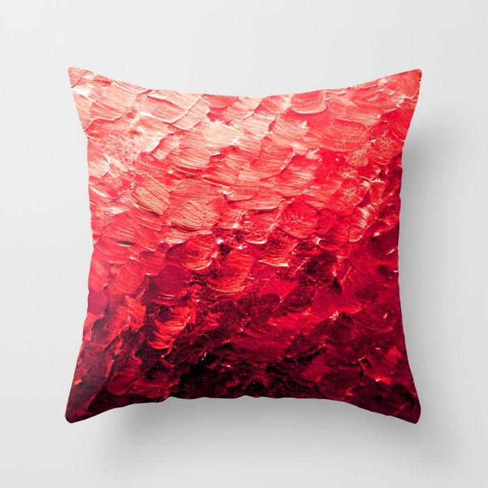 MERMAID SCALES 4 Red Vibrant Ocean Waves Splash Crimson Strawberry Summer Ombre Abstract Painting Deko-Kissen