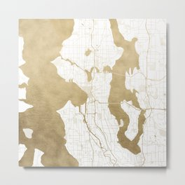 Seattle White and Gold Map Metal Print