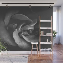 blooming rose texture abstract in black and white Wall Mural
