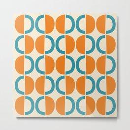 Mid Century Modern Half Circle Pattern 528 Beige Orange and Turquoise Metal Print