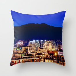 Blue Twilight Sky - Shangri La Hotel and Vancouver Grouse Mountain British Columbia Canada Travel Throw Pillow
