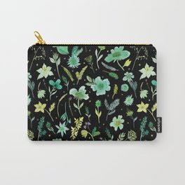 Verdant Flowers on Black Background Carry-All Pouch