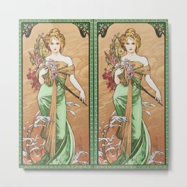 "Alphonse Mucha ""The Seasons (series): Spring"" (1900) Metal Print"