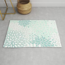 Floral Prints, Soft Teal, Mint Green and White, Modern Print Art Rug