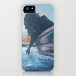 """""""Solace at Sunset"""" Woman in Boat at Sunset print iPhone Case"""