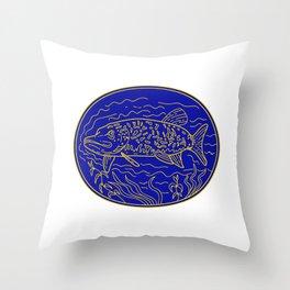 Northern Pike Fish Oval Mono Line Throw Pillow