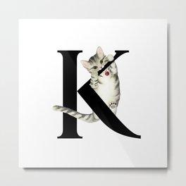 Cat Monogram Collection K Metal Print