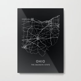 Ohio State Road Map Metal Print