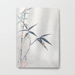 Snail on a Bamboo Tree - Traditional Japanese Woodblock Print Art by Ohara Koson Metal Print