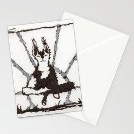 Zen Dog Black and White Meditation Sun Minimalist Graphic Conceptual Art Stationery Cards