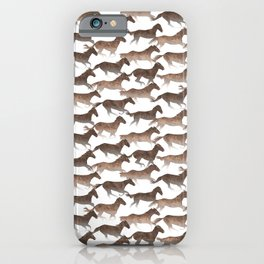 Running Watercolor Horses Pattern - Brown iPhone Case
