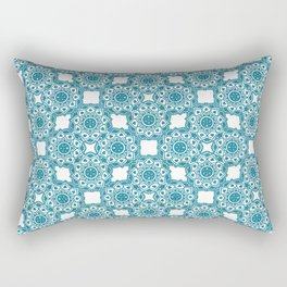Turquoise Flower Doodle with Digital Glitter Effect -Graphic Design Pattern Rectangular Pillow