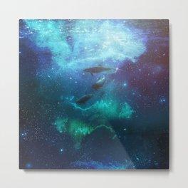 Mystic Dolphins Underwater Scenery Metal Print