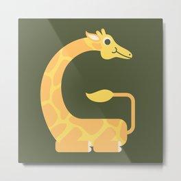 Letter G // Animal Alphabet // Giraffe Monogram Metal Print