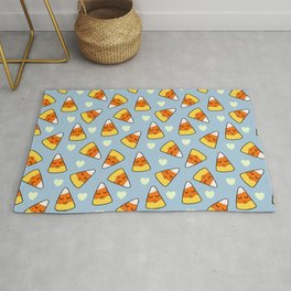 Candy Corn and Heart Pattern Rug