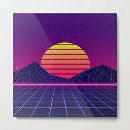 Miami Coast Synthwave Aesthetic Metal Print