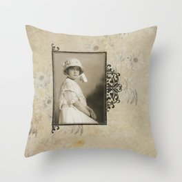 Vintage Photo Find:  Beautiful Child with White Bonnet Throw Pillow