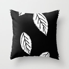 Abstract black leaves Throw Pillow