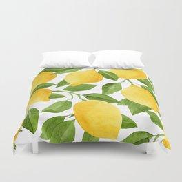 Yellow Lemon Watercolor Fruit Duvet Cover