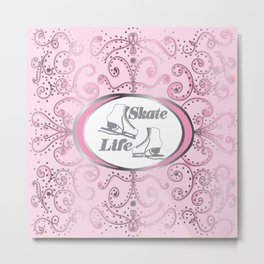 Figure Skates in Silver Glitter with Pink Swirls and Dots Design Metal Print