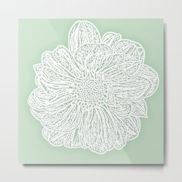 Single White Dahlia Lino Cut, Soft Sage Green Metal Print
