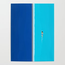 The Lone Swimmer | Aerial Poster
