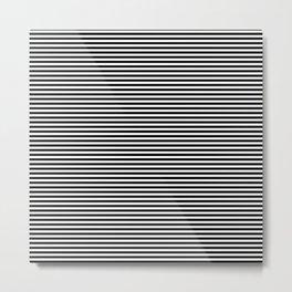 Horizontal Stripes in Black and White Metal Print