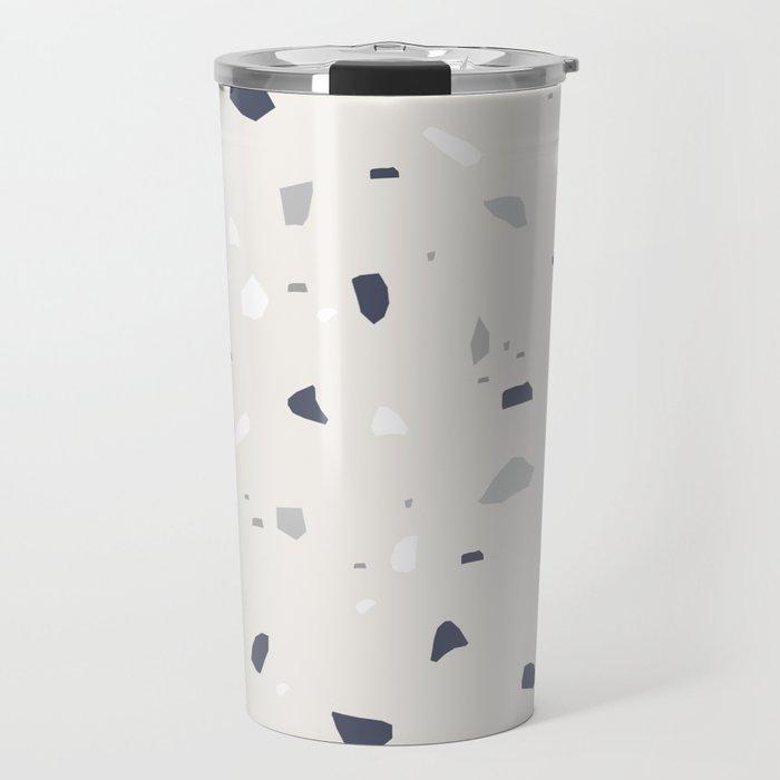 Midnight Navy Gray Creme Terrazzo #1 #decor #art #society6 Travel Mug