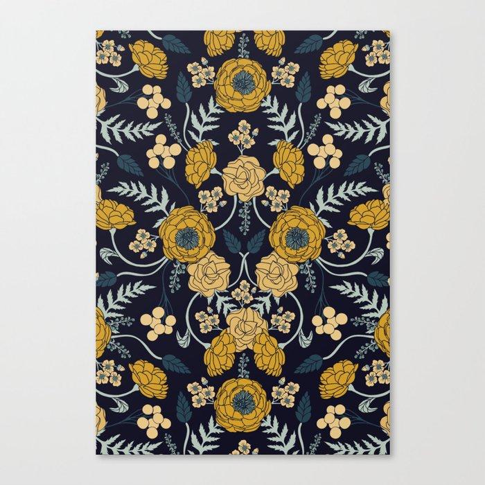 Navy Blue, Turquoise, Cream & Mustard Yellow Dark Floral Pattern Leinwanddruck