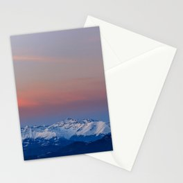Snowy mountains with magical sky Stationery Cards