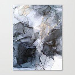 Calm but Dramatic Light Monochromatic Black & Grey Abstract Canvas Print