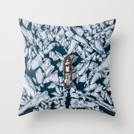 Aerial of an Ice breaker on its way through arctic ice - Landscape Photography Throw Pillow