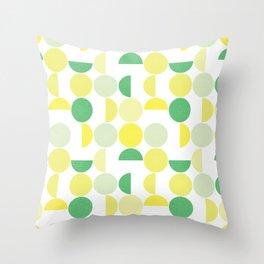 Bauhaus Semicircles Lime Green Throw Pillow