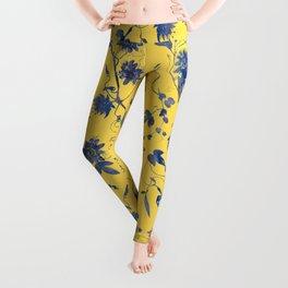 Elegant Blue Passion Flower on Mustard Yellow Leggings