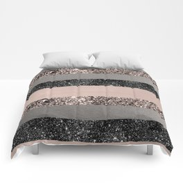 Blush Glitter Glam Stripes #1 #shiny #decor #art #society6 Comforters