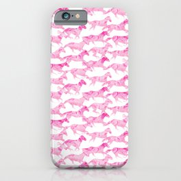 Running Watercolor Horses Pattern - Pink iPhone Case