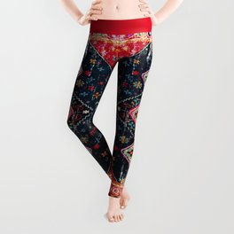 Heritage Oriental Berber Traditional Moroccan Style Blue & Red Design Leggings