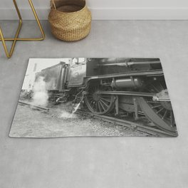 Old steam locomotive in the depot ZUG005CBx Le France black and white fine art photography by Ksavera Rug