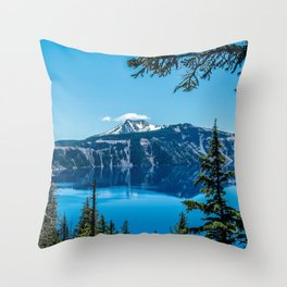 Crater Lake Views // National Park Landscape Photography Clear Deep Blue Waters Throw Pillow