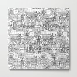 Edinburgh toile black white Metal Print