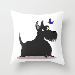 A Scottie Chasing Butterfly Throw Pillow