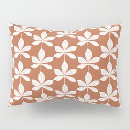 Modern distressed leaves pattern. Chocolate brown and white design. Pillow Sham